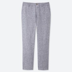 Uniqlo Pants - uniqlo blue linen cotton tapered pants